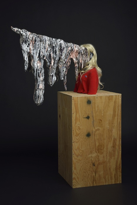 Roxanne Jackson , Title: Blonde Ambition, 2013 Media: Ceramic, wig, Lacoste sweater, pearl earrings, enameled paint, chicken wire, paper mache, hair barrette, plywood Dimensions: 4 x 5 x 1 feet (L x H x D)