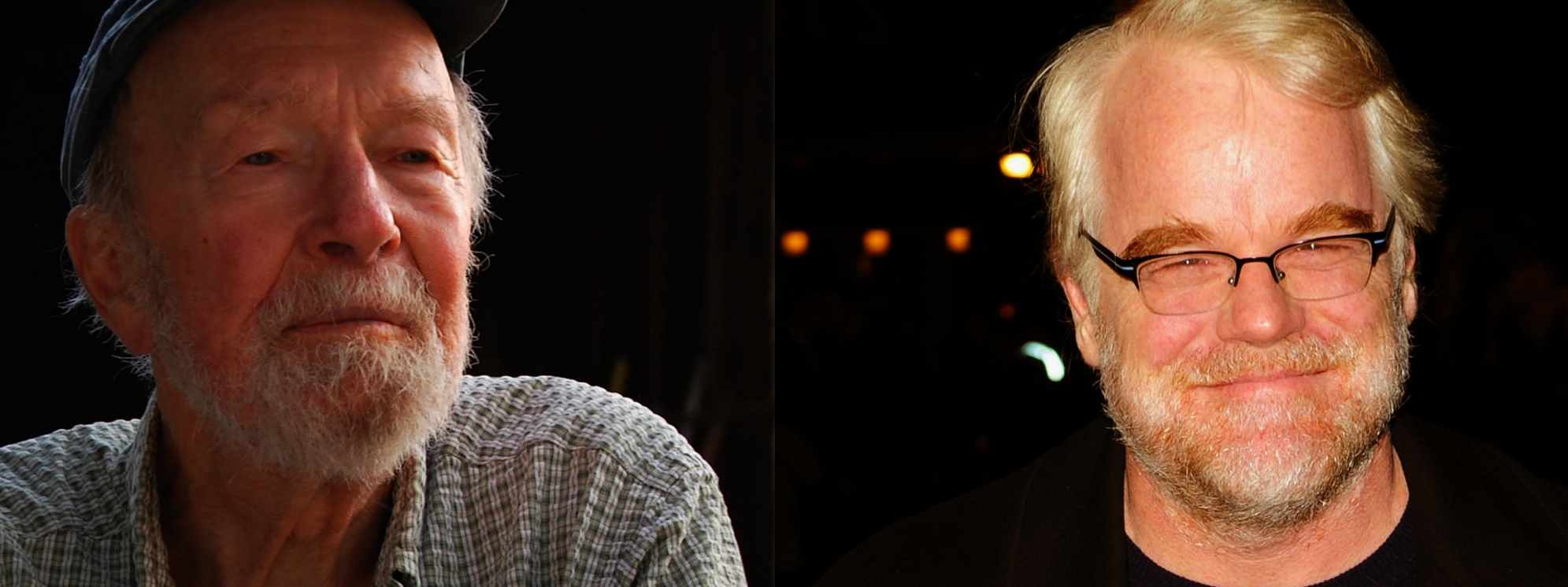 Pete Seeger (left) and Philip Seymour Hoffman (right)