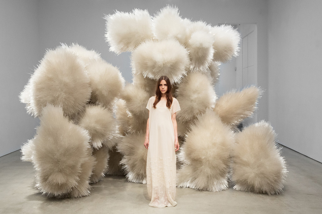 Paridust standing in an installation by Tara Donovan at Pace Gallery, New York, wearing The Row Photographs by Tylor Hou, 2014