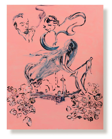 """Lola Montes Schnabel, """"Message From Rene"""", (2015) oil on linen, 86-1/2 x 67 inches, Courtesy of Tripoli Gallery, Southampton and East Hampton, New York. Photo by Ryan Moore"""