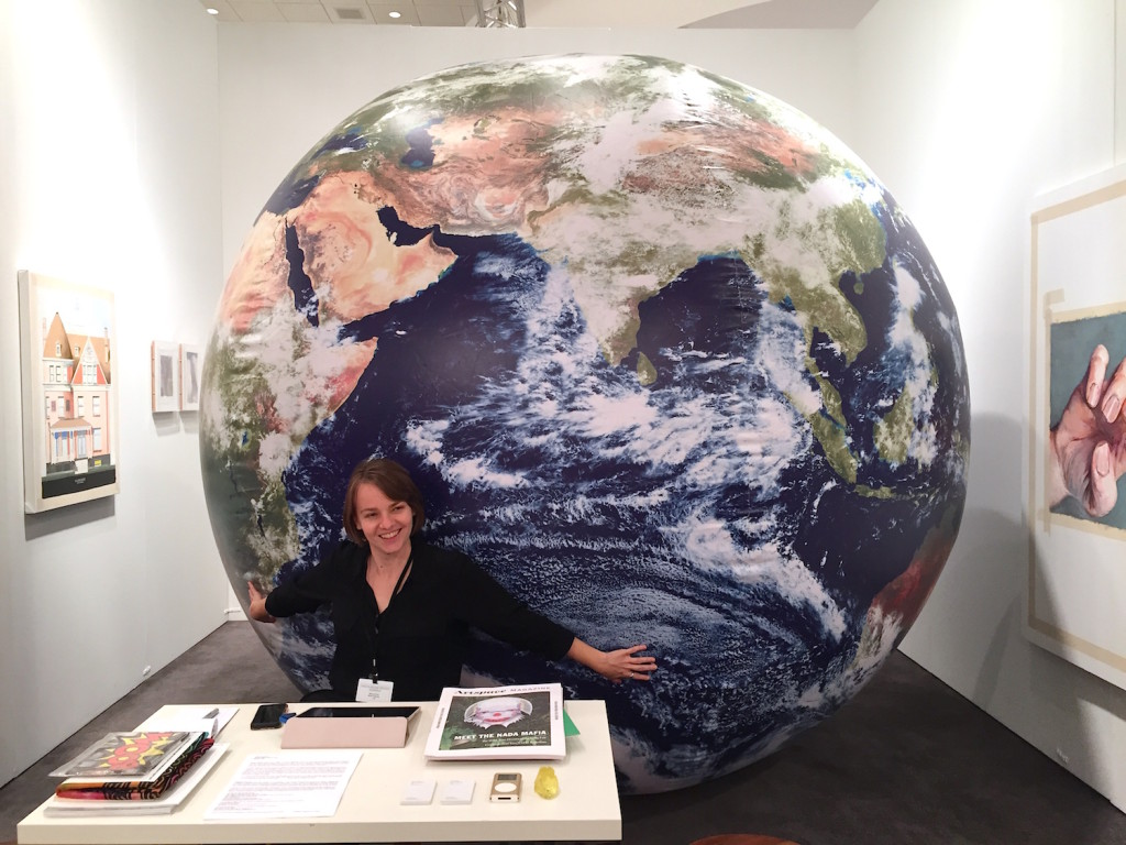 """What Pipeline, Detroit Puppies Puppies """"Earth"""". Inflatable globe with NASA imagery 2014, Installation view NADA Miami, Photograph Zebadiah Keneally, 2015"""