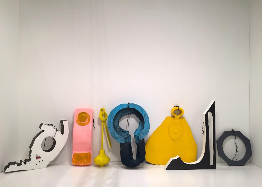 Erika Vogt, untitled. Polyurethane, wood, acrylic, rope 2015, Overduin & Co., LA, Installation view NADA Miami, Photograph Zebadiah Keneally, 2015