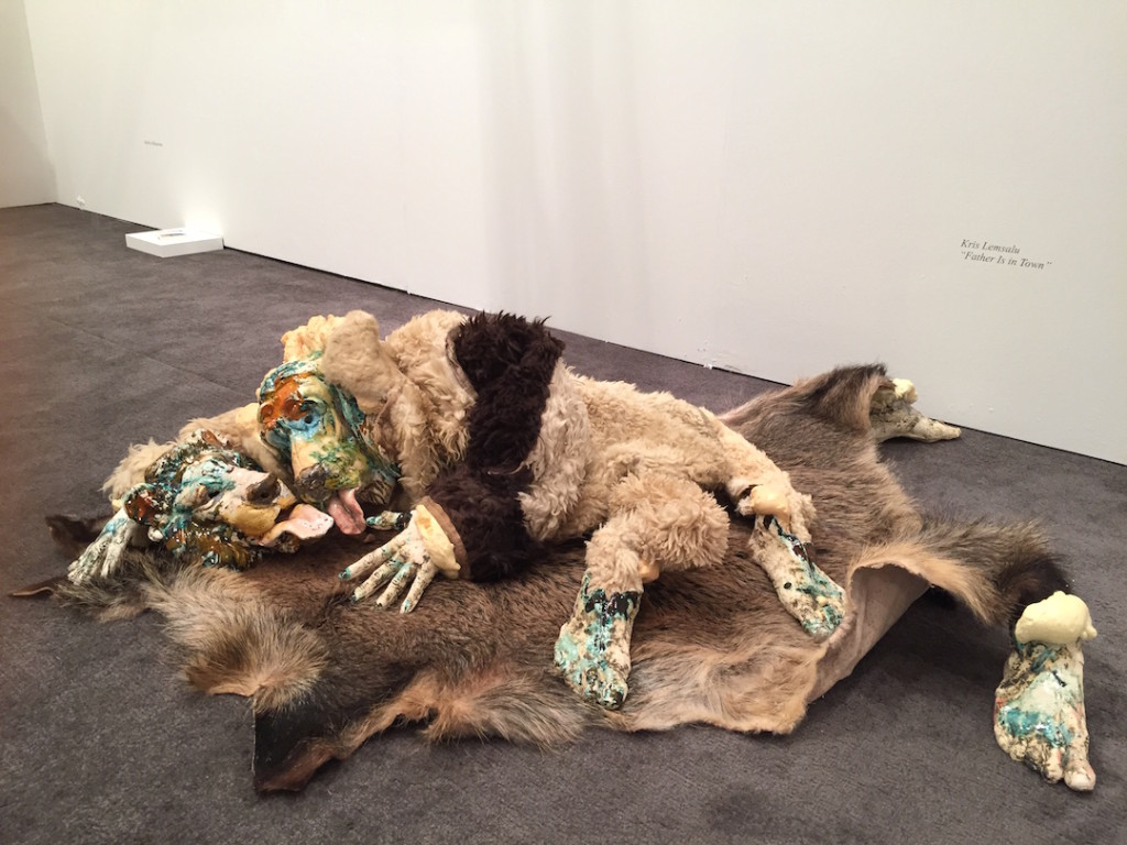 "Kris Lemsalu ""Father is Present"", Ceramic, bearskin, synthetic fur, foam, 2014, Temnikova & Kasela Gallery, Tallinn, EE, Installation at NADA, Miami, Photograph by Zebadiah Keneally"