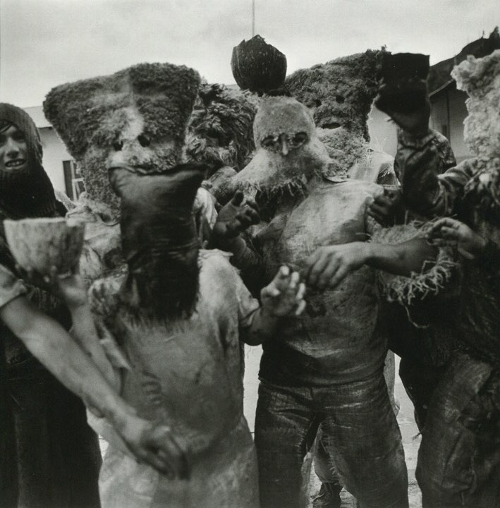 """Rosalind Fox Solomon """"Carnival Masks, Huari, Peru"""" 1981, Gelatin silver print, Signed and dated on verso, 20 x 16 inches"""